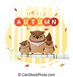 Hello autumn background with owl family