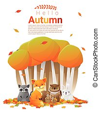 Hello autumn background with woodland animals