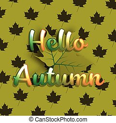 Hello Autumn banner background with green maple leaf