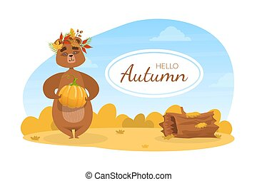 Hello Autumn Banner Template, Cute Brown Bear in Wreath of Colorful Leaves Standing with Pumpkin on Autumn Landscape Vector Illustration