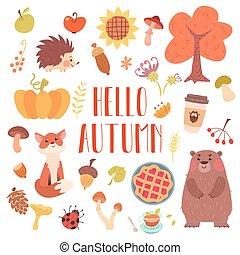 Hello autumn cute animals and attribute set.