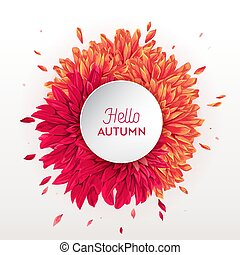Hello Autumn Floral Design. Seasonal Fall Floral Background Template for Web Banner, Poster, Leaflet, Sale, Promo, Print. Watercolor Flowers. Vector illustration