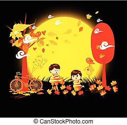 Hello autumn funny kids of a forest in autumn with leaves falling and bicycle under the moonlight