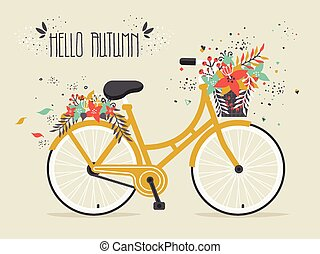 Hello Autumn. Golden Bicycle with Decorative Hand Drawn...
