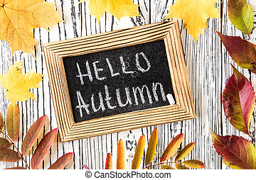 Hello autumn greeting text on chalkboard. Top view