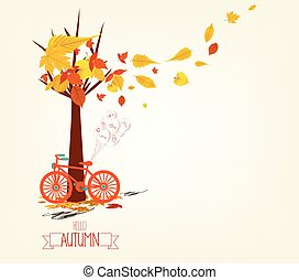 Hello autumn. Hand drawn tintage bicycle with autumn leaves