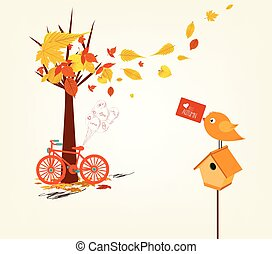 Hello autumn. Hand drawn tintage bicycle with autumn leaves and mail box