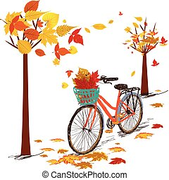 Hello autumn. Hand drawn tintage bicycle with autumn leaves in rear basket