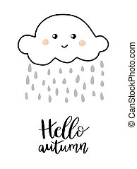 Hello autumn hand lettering phrase on orange watercolor...