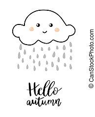 Hello autumn hand lettering phrase on orange watercolor...