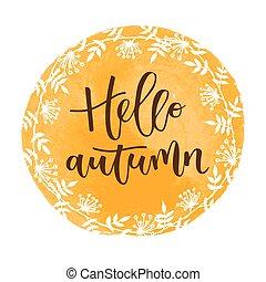 Hello autumn hand written inscription
