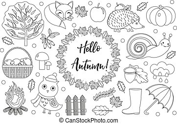 Hello Autumn icons set sketch, hand drawing, doodle style.Collection design elements with leaves, trees, mushrooms, pumpkin, wild animals, umbrella and boots. Vector illustration.