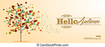 Hello autumn label text with transparent colorful bubbles tree. Useful as invitation or postcard background. EPS10 vector file with transparency for easy editing