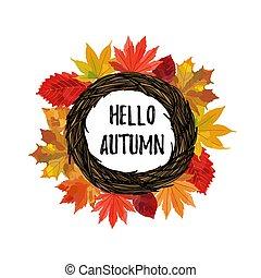 Autumn leaves wreath with hello autumn text
