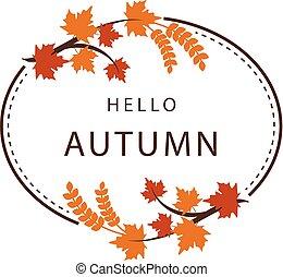Hello Autumn Maple Leaf Circle Frame Background Vector Image