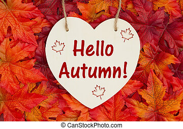 Hello Autumn message with fall leaves
