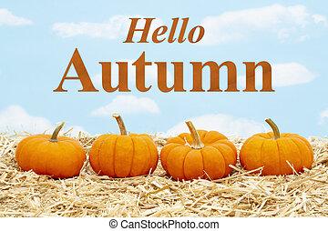 Hello Autumn message with orange pumpkins on straw hay