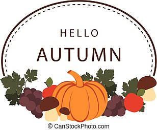 Hello Autumn Pumpkin Vegetable Frame Background Vector Image