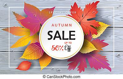Hello Autumn Sale banner, Fall Foliage, Wood background