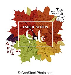 Hello Autumn Sale text poster of September leaf fall or autumnal foliage of maple, oak acorn and elm for shopping sale design or promo poster and frame leaflet or web banner.