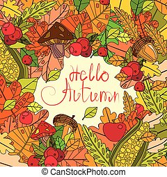 Hello Autumn Season Banner With Hand Draw Lettering Fall Greeting Card