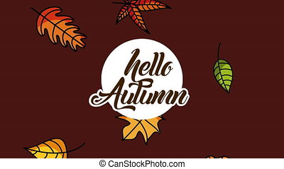 hello autumn season with calligraphy and leafs animation - ...