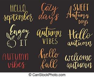 hello autumn set - Vector hand lettering autumn phrases set,...