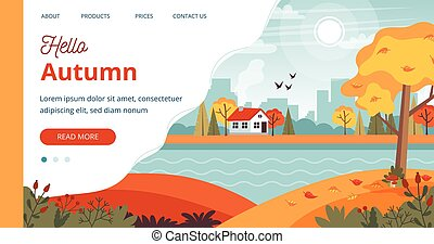 Hello Autumn template, landscape with cute house and lettering. Vector illustration in flat style