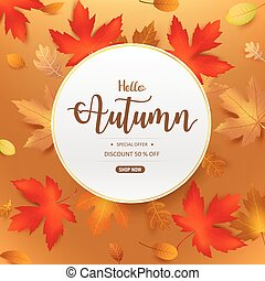 Hello Autumn text in circle frame with dry leaf