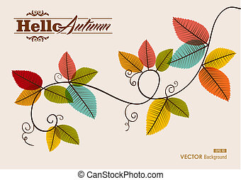 Hello autumn text tree branches with transparent leaves background EPS10 vector file with transparency for easy editing.