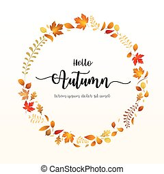 Hello Autumn text with dry leaf circle frame
