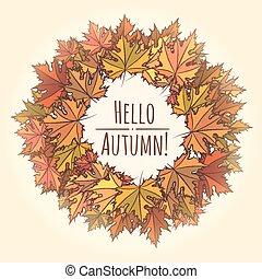 Hello Autumn Theme with Leaf Wreath