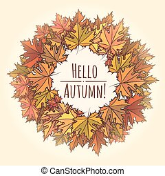 Hello Autumn Theme with Leaf Wreath