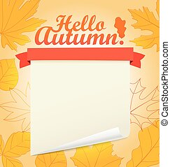 Hello autumn vector concept. Greeting card template. Place your text