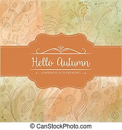 """Hello autumn"" watercolor background"