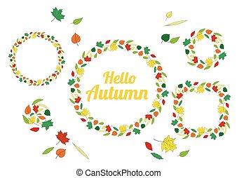 Hello Autumn wreath autumn leaves isolated on white