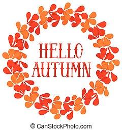 Hello autumn wreath vector card