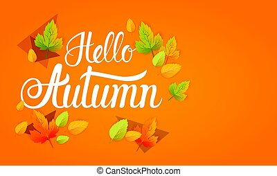 Hello Autumn Yellow Leaf Fall Banner Abstract Background