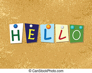 Hello background - Paper stickers with hello letters. eps10