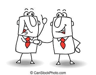 Hello boy - two businessmen shaking hands. It's ok ! I swear...