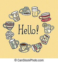 Hello Card with doodle tea cups.