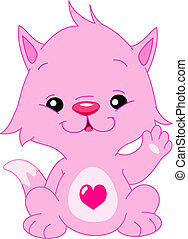 Cute pink kitten with a heart shape on his belly waving hello