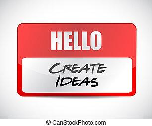 Hello create ideas tag illustration design