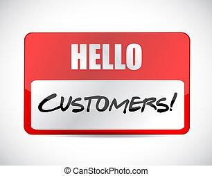 Hello customers tag illustration design
