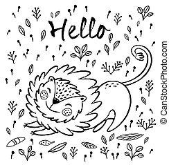 Hello. Cute lion cartoon vector illustration
