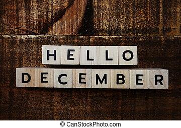 Hello December alphabet letters