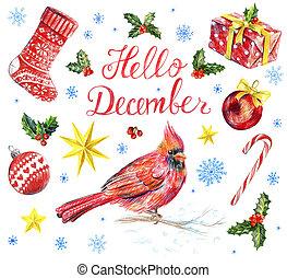 Hello December card. Great christmas set design. Cardinal ...