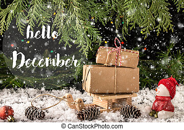 HELLO DECEMBER lettering design. New Year and Christmas celebrat