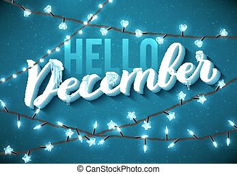 Hello December poster with realistic icicles and christmas ...