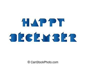 Hello December with origami paper on white background.
